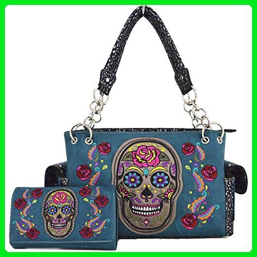 Western Cowgirl Concealed Carry Cross Sugar Skull Purse Handbag Messenger Shoulder  Bag Wallet Set Turq - Shoulder bags ( Amazon Partner-Link) f668e4b7befe0