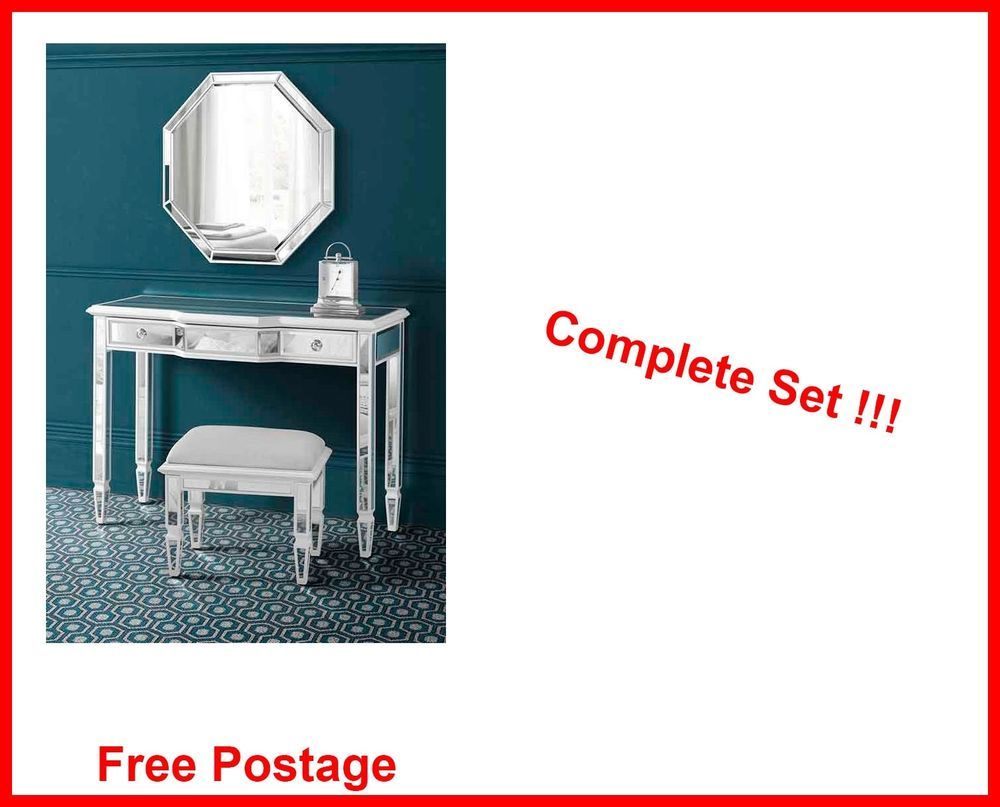 Mirrored dressing table set vanity mirror stool bed room
