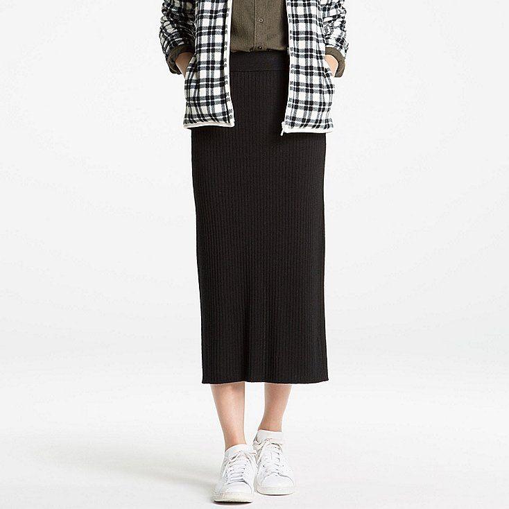 e0e29f73f6e6bc Women merino blend ribbed skirt | [ dream closet ] | Skirts, Uniqlo ...