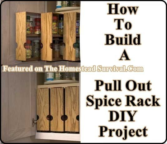 build your own pull out spice racks the homestead survival kitchen gadgets pinterest. Black Bedroom Furniture Sets. Home Design Ideas