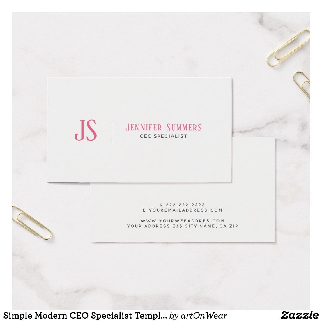 Simple Modern CEO Specialist Template Business Card
