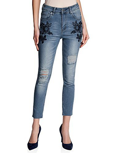 oodji Ultra Donna Jeans Slim Fit con Ricami sulle Tasche