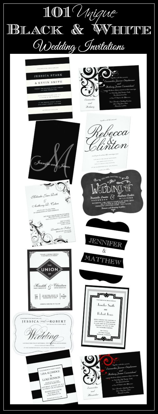 101 unique black and white wedding invitations at discount for Wedding invitation template for sale