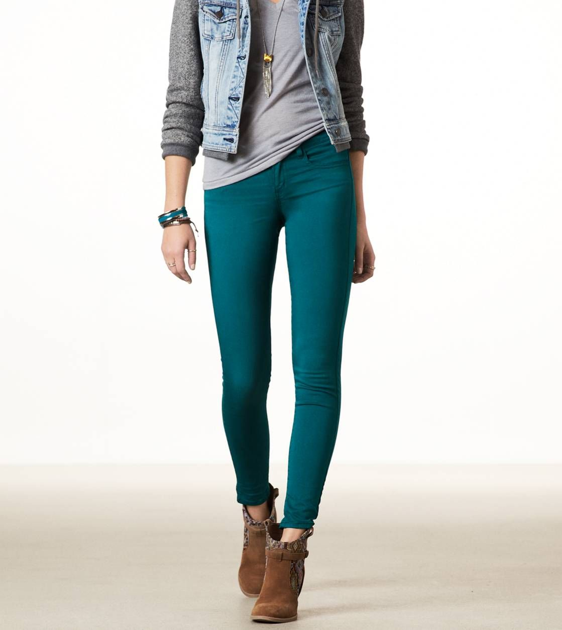 Teal, sateen jeggingsamerican eagle | Teal leggings outfit, Teal jeans outfit, Jeggings
