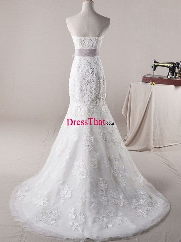 2013_Elegant_Real_Sample_Strapless_Mermaid_White_Lace_Purple_Sash_Floor-length_Brush_Train_Wedding_Dress-2_WD-50397.jpg (600×800)