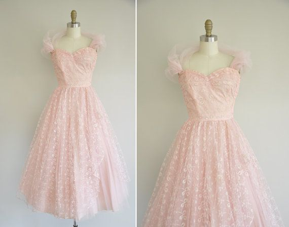 Vintage 1950s prom dress / 50s pink tulle party dress / 1950s ...