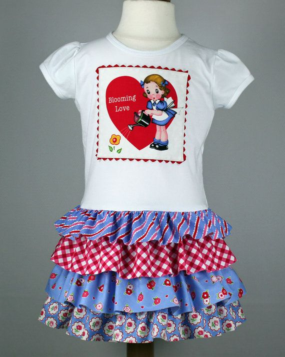 Girls Valentines dress pdf sewing pattern, layer ruffles skirt ...