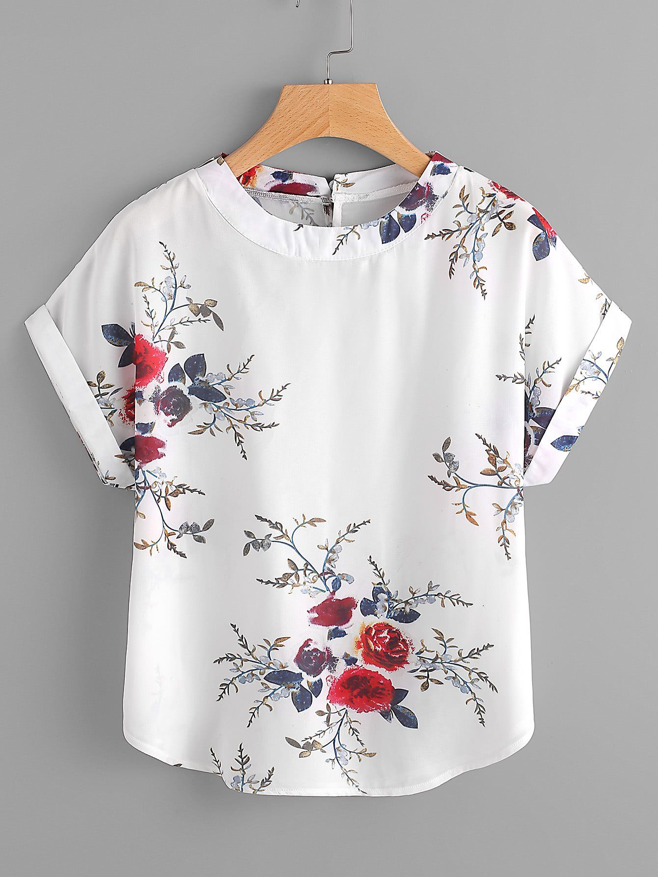 White Floral Print Dolman Sleeve Cuffed Keyhole Button Back Blouse ...