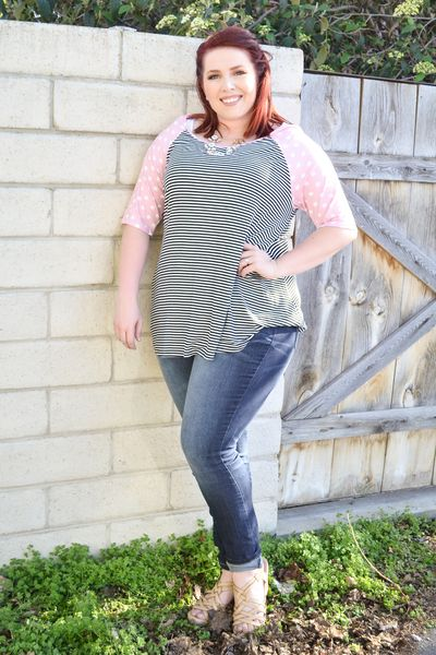 8cd996791c9 Plus Size Fashions · Striped With Pink Polka Dot Top - My Sisters Closet