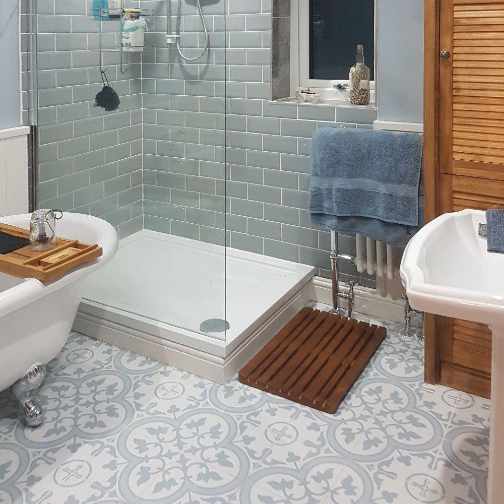 Chiara S Calming Bathroom Makeover Ledbury Pattern Tiles Latest Bathroom Tiles Design Blue Bathroom Tile Patterned Bathroom Tiles