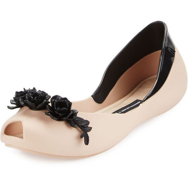 Melissa Shoes Flower Queen Peep-Toe Flat ($62) ❤ liked on Polyvore featuring shoes, flats, beige blac, ballet flats, peep toe ballet flats, floral flats, peep toe flats and floral print ballet flats