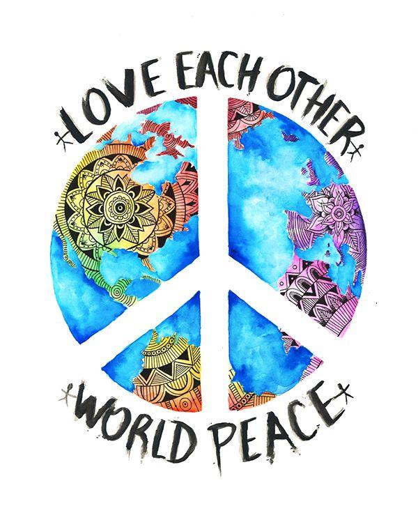 Peace Logo T Shirt Watercolor Rainbow Peace Hippie Motivational Positive Gift