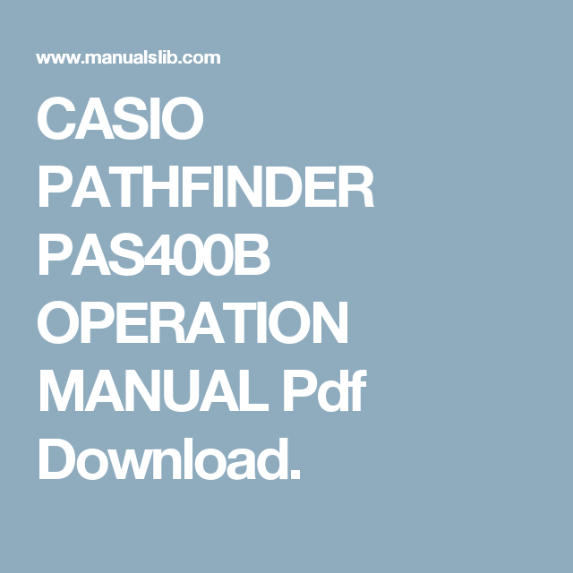 Casio Pathfinder PasB Operation Manual Pdf Download  Tools