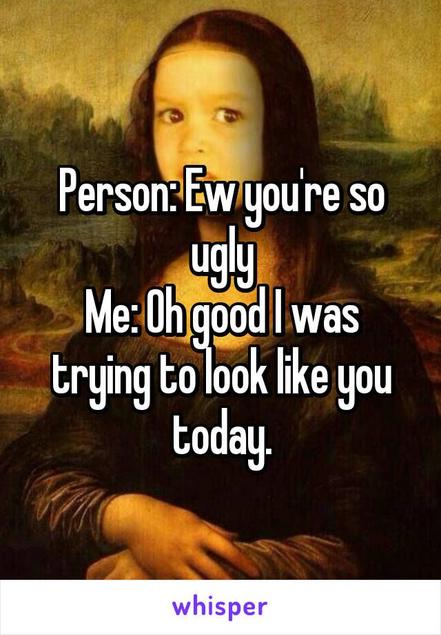 Person: Ew you're so ugly Me: Oh good I was trying to look like you today.