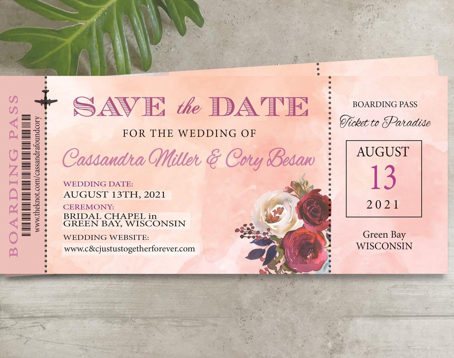 Travel Theme Boarding Pass Ticket Passport Wedding Save the Date Wedding Reception Elope Invite Destination Travel passport boarding pass