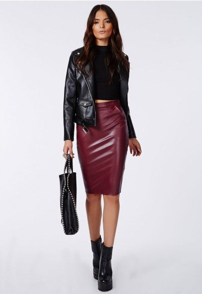 Business Chic Look Leather Skirt Burgundy Shirt We Would So Love To Wear These