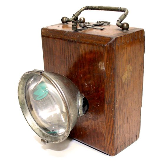 Eveready 3 Cell Wood Grain Box Bicycle Light With Red Green Faceted Bicycle Lights Wood Grain Wood
