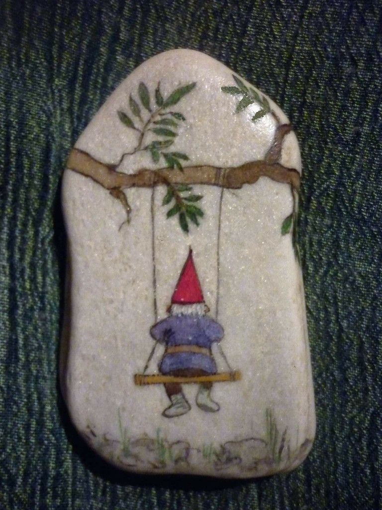 Gnome On Swing Painted Rock Rock Crafts Painted Rocks