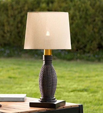Outdoor Wicker Table Lamp With Removable Battery Operated Torch      Amazon.com