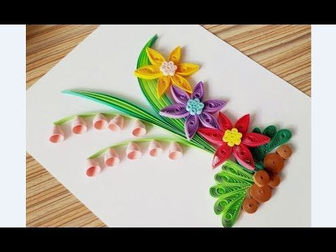 Paper Art How To Make Beautiful Quilling Flowers Design Birthday Card Youtube Also Rh