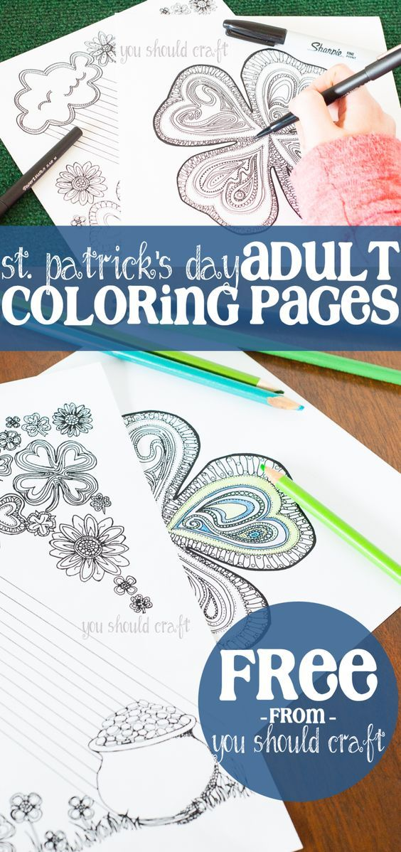 Adult Coloring Pages for St. Patrick's Day Free adult