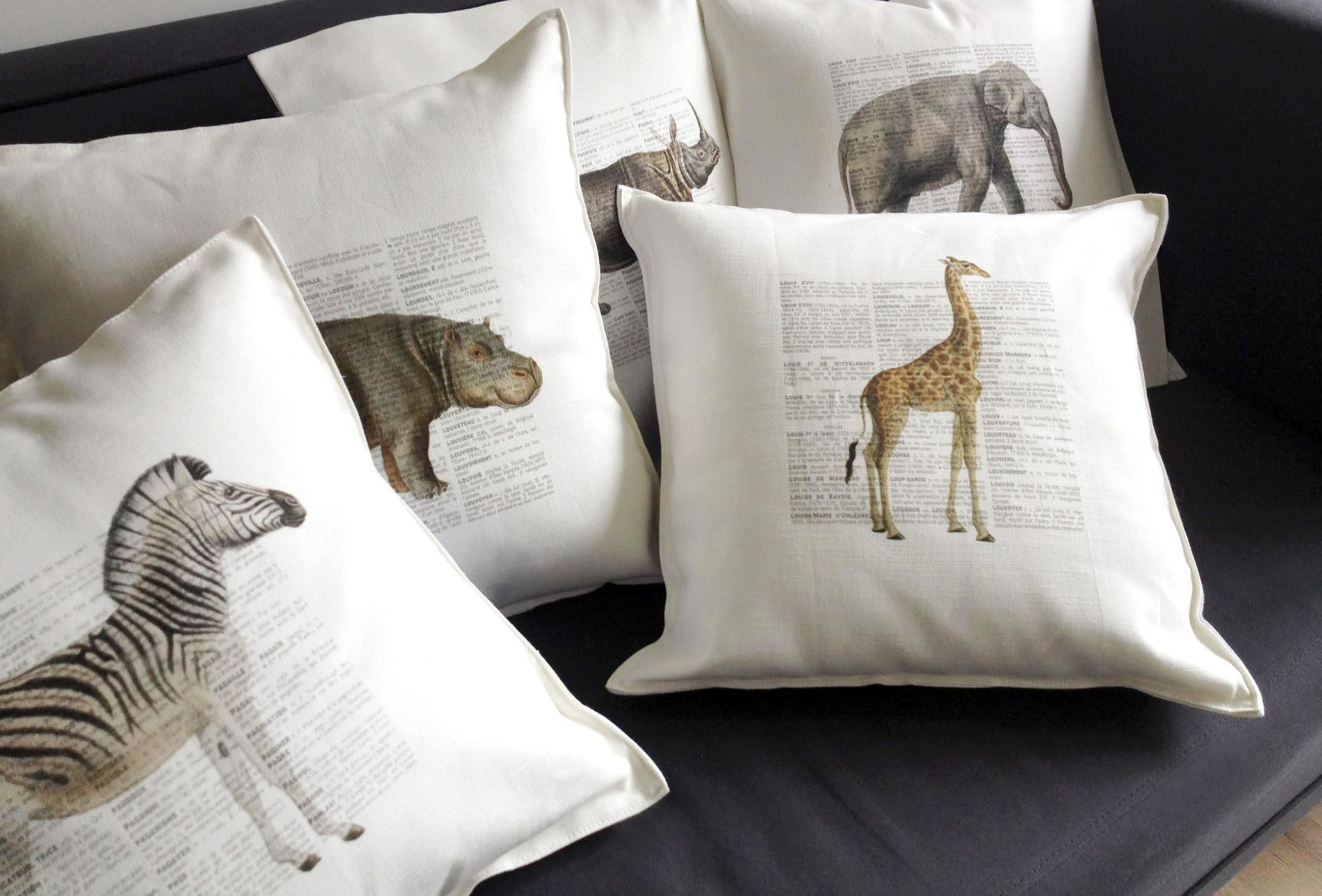 lot de coussin lot de 5 housses de coussins en lin et coton, thème safari animaux  lot de coussin
