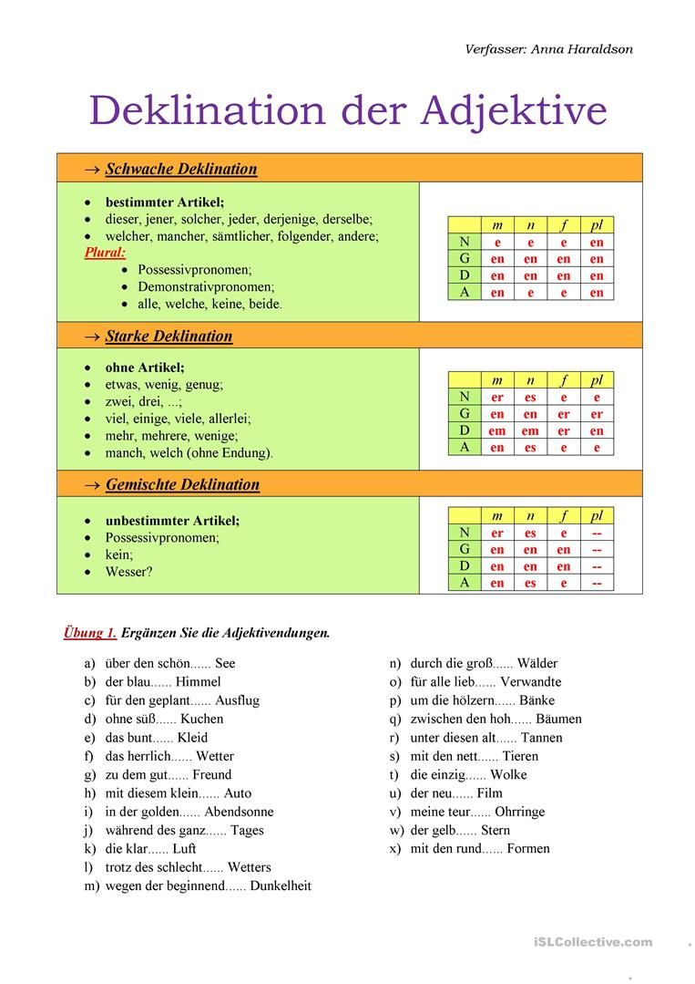 Deklination der Adjektive | GERMAN LEARN | Pinterest | German and ...