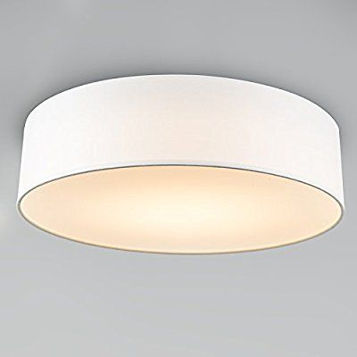 QAZQA Modern Deckenleuchte / Deckenlampe / Lampe / Leuchte Drum Mit Schirm  LED 40 Weiß / Innenbeleuchtung / Wohnzimmer / Schlafzimmer / Küche Metalu2026