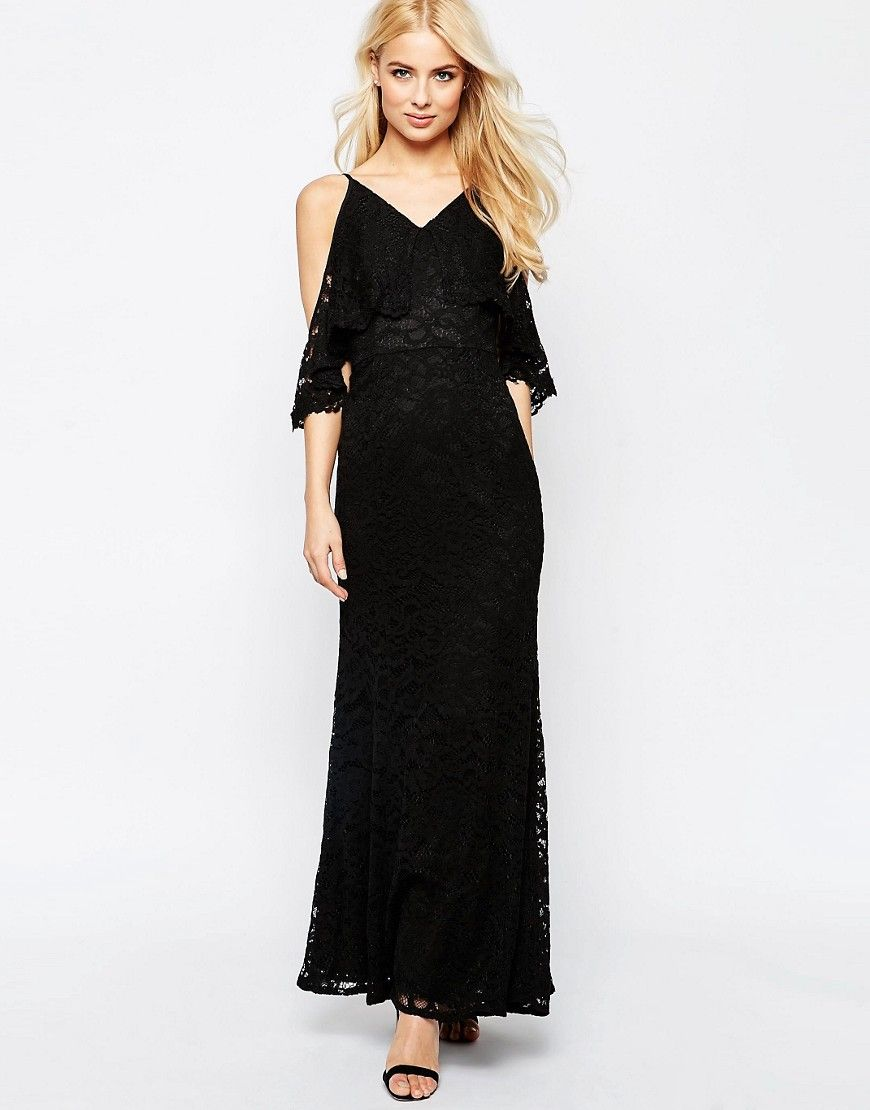 Image 1 of Jarlo Lace Cold Shoulder Fishtail Maxi Dress | Debs ...