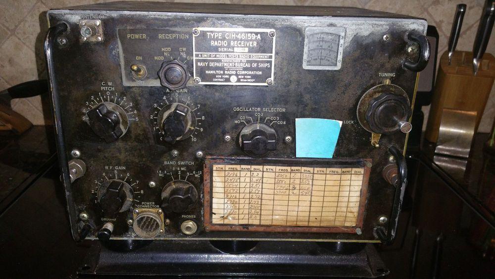 Vintage Military US Navy Radio Receiver CIH-46159-A Hamilton Radio Corp TCS-13