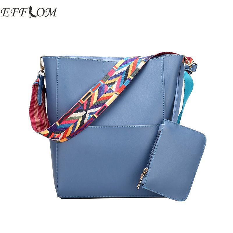 94f755546801 EFFLOM Women Shoulder Bags Famous Brand Bucket Bag Embroidery Wide ...