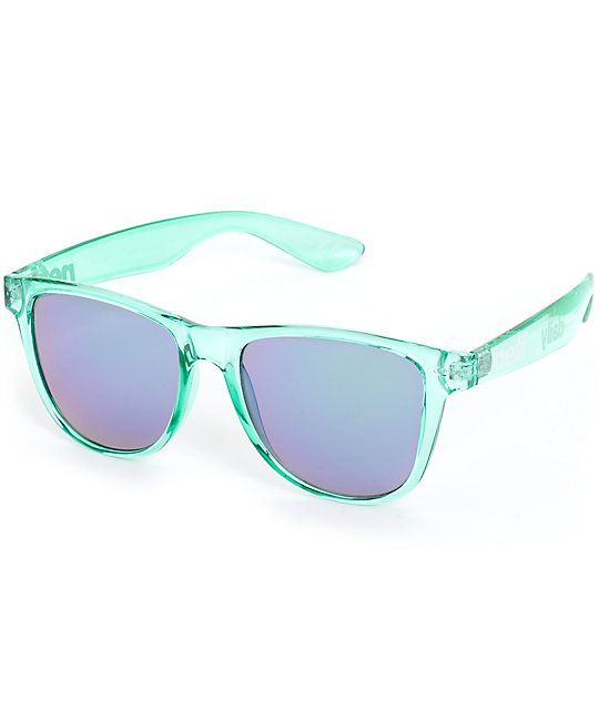 d9acddcc975 Ice out your style with a translucent teal plastic frame with blue and  green acrylic lenses