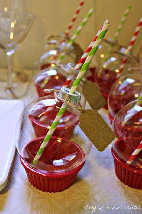 Holiday sippers??? Wine??? Just photo only, no link. Plastic Walmart/Michaels/Hobby Lobby ornaments with a straw sitting on a red ramekin