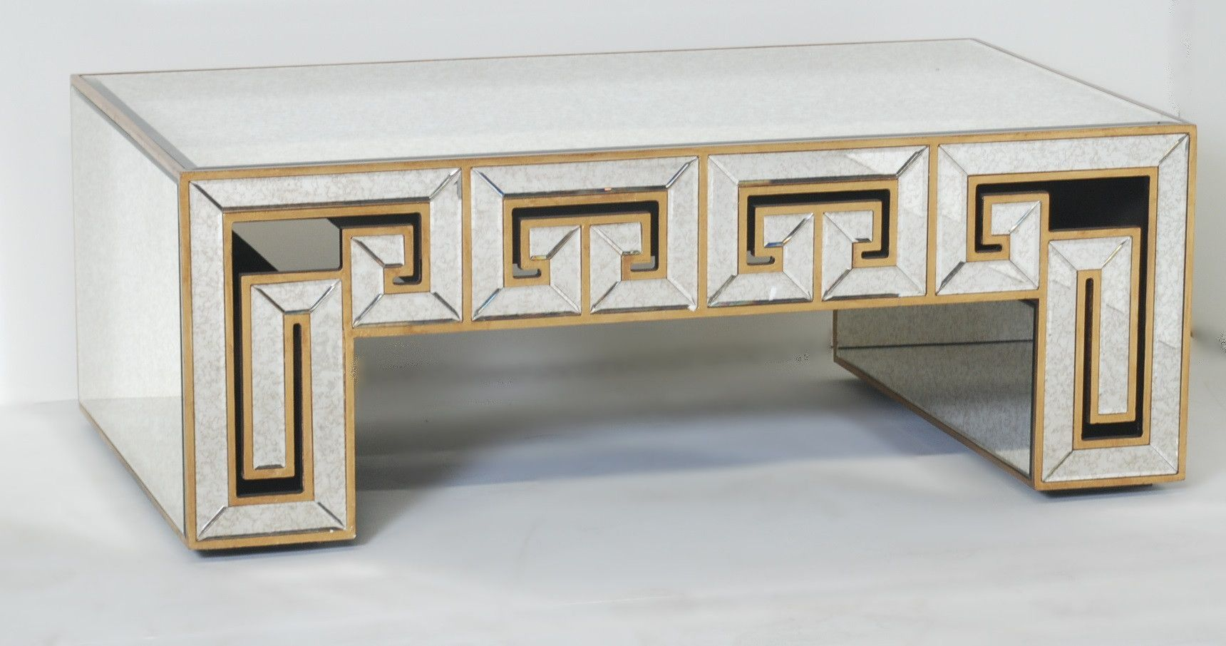 Greek Key Design Mirrored Coffee Table