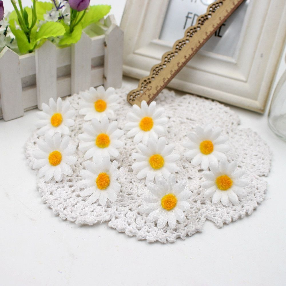 Diy flower decorations wedding  pcs Small Silk Sunflower Handmake Artificial Flower Head Wedding