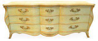 Venetian Style Serpentine Dresser 1930s Nine Drawer Dresser By