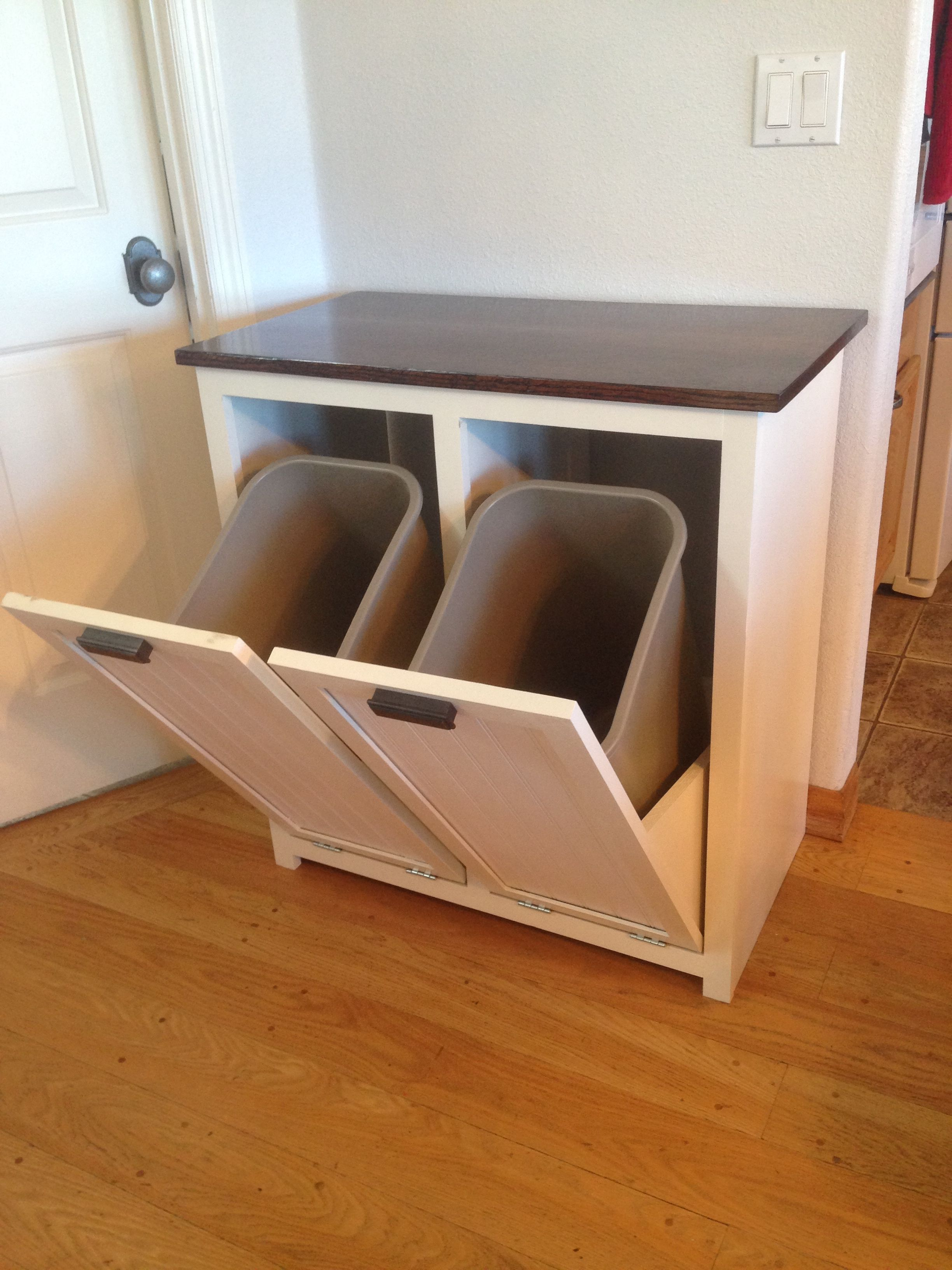 My Wife Asked Me To Build Something To Hide The Trash And Recycling Cans So That We Could Pretend That We Do Trash Can Cabinet Diy Home Decor Projects Home Diy