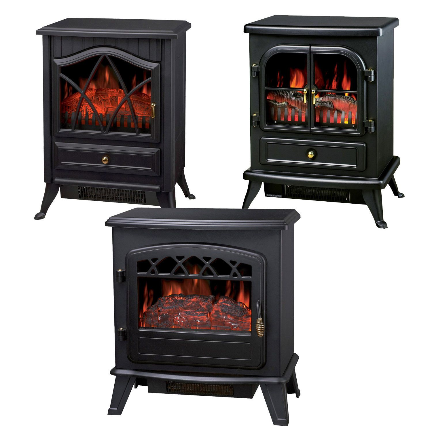 W log burning flame effect stove electric fire heater fireplace