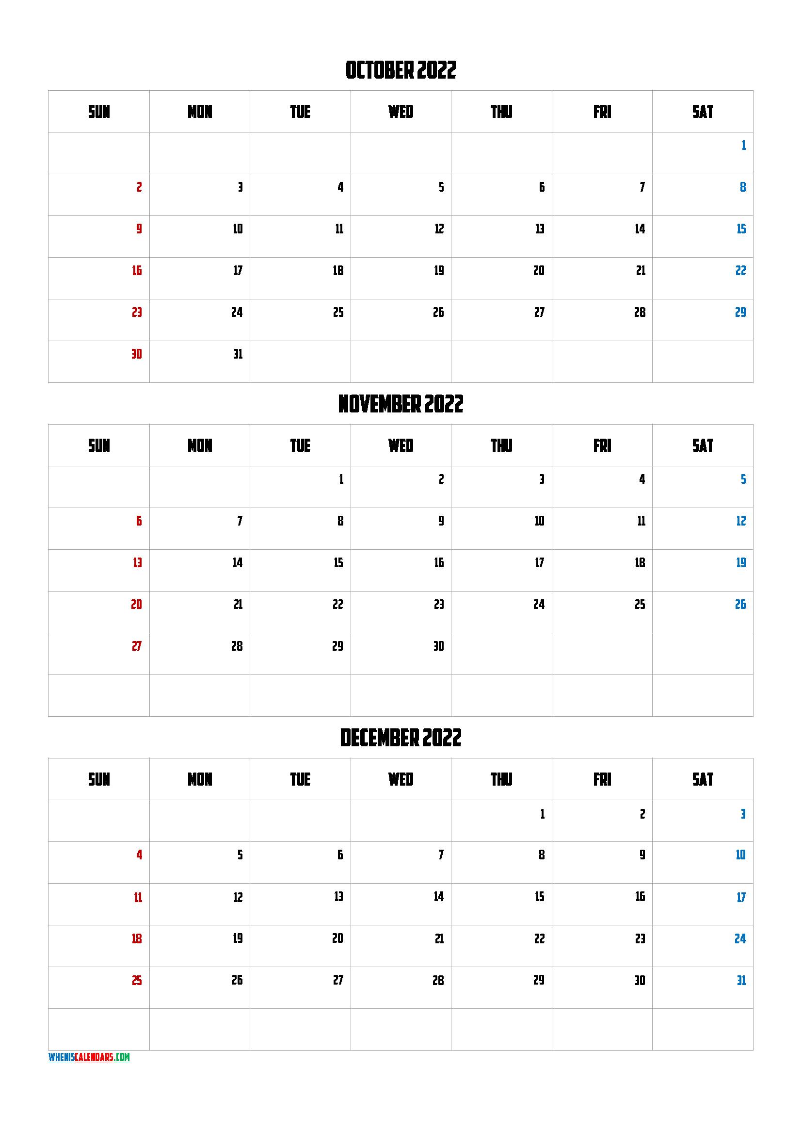 Q3 2021 Calendar Free October November December 2022 Calendar [Q1 Q2 Q3 Q4] in 2020
