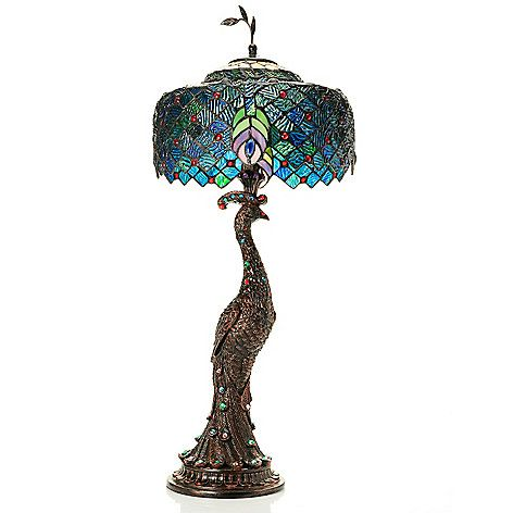444-743 - Tiffany-Style 29'' Jeweled Harlequin Peacock Stained ...