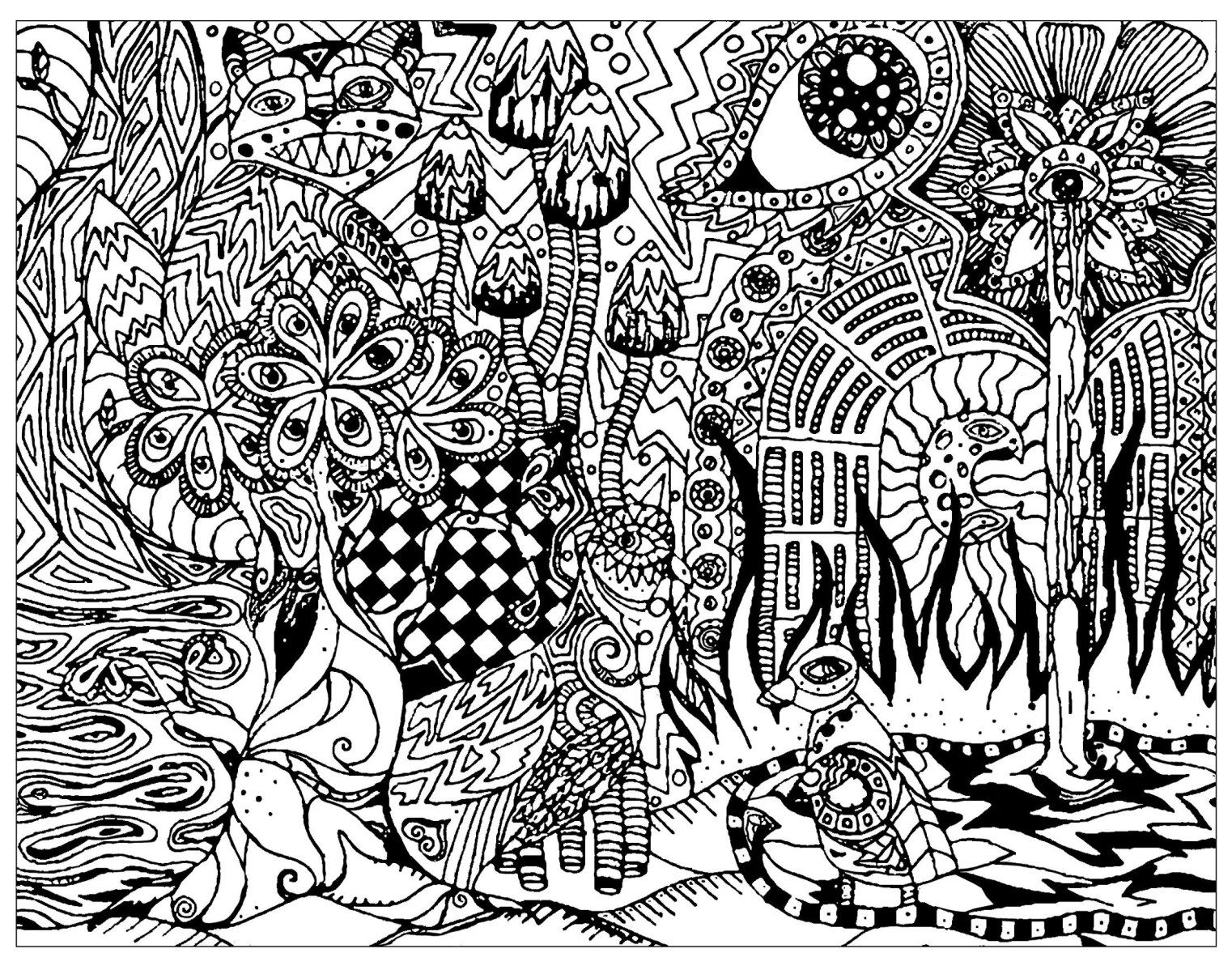 Psychedelic Coloring Pages Free Psychedelic Coloring Pages