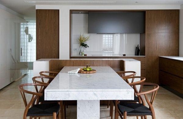 Wie sieht das moderne Esszimmer aus? - holz und marmor esszimmer - esszimmer echtholz