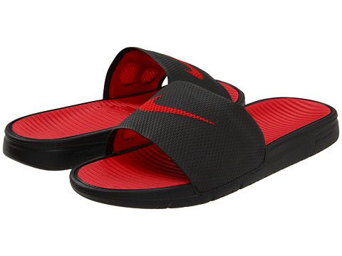 b55b006972de Nike Benassi Solarsoft Slide Black Black Sport Red Sport Red - Zappos.com  Free Shipping BOTH Ways