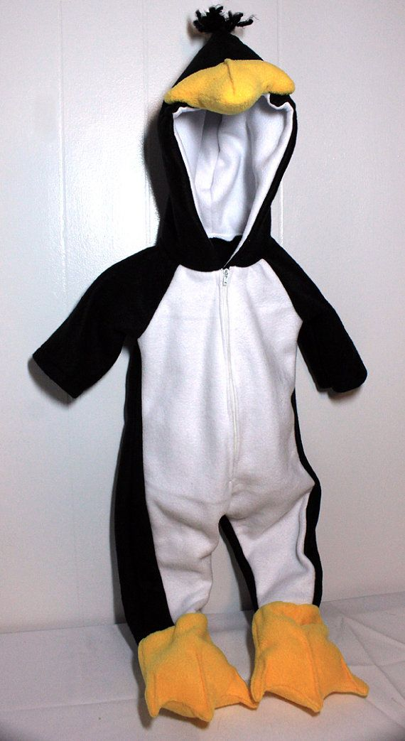 Playful Penguin Costume Infant Toddler Detachable Bow And Jumpsuit Animal NEW