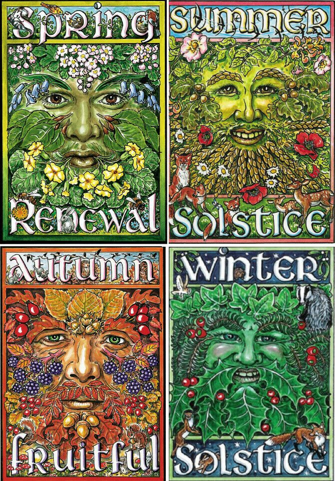 Details about WINTER SUMMER SOLSTICE SPRING AUTUMN EQUINOX Greeting Cards PAGAN GREEN MAN #autumnalequinox