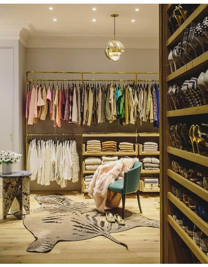 Brass And Wood Dressing Room Closet WallCloset VanityCloset