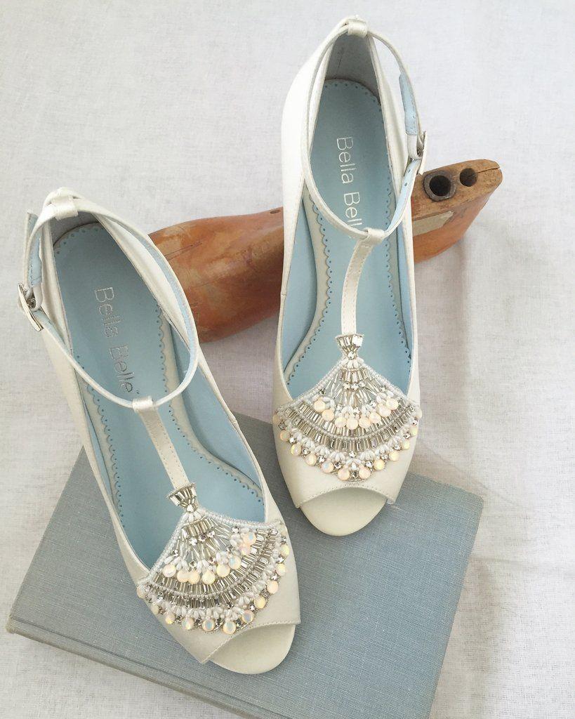 Peep Toe Art Deco Low Heel Wedding Shoes Wedding Shoes Heels