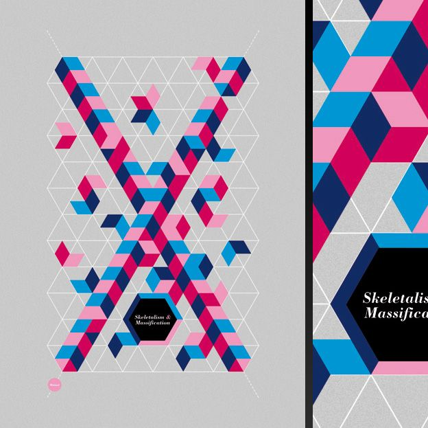 Faux Geometic Isometric Illuration