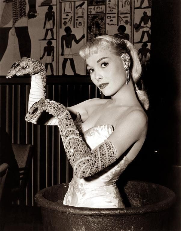 50s era photo showgirl Egyptian inspired beaded long gloves evening wear novelty unique hollyhocksandtulips:    Snake gloves    What!!
