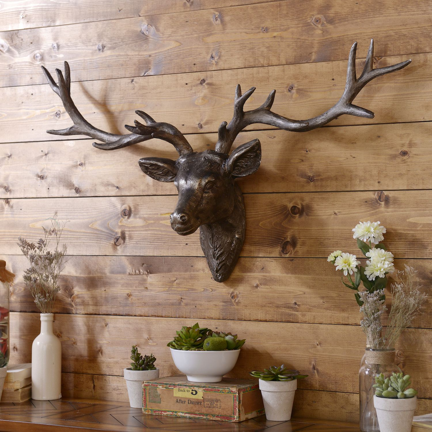 Bronze Deer Head Plaque | Deer head decor, Wall decor ...